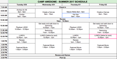 Camp Awesome - Summer 2017 Schedule